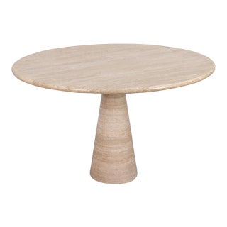 Angelo Mangiarotti Travertine Pedestal Dining Table