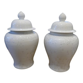 Hand Made Crystal and Shell Temple Jars - a Pair For Sale