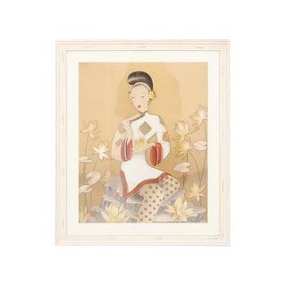 Watercolor Portrait of a 1920's Asian Woman For Sale