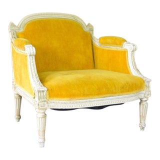 1930s Antique French Mustard Yellow Child's Chair For Sale