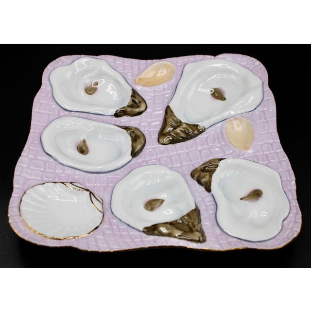 1960s Lavender Blush Oyster Plate For Sale - Image 4 of 10