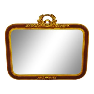 Vintage Wreath Top Wall Mirror For Sale