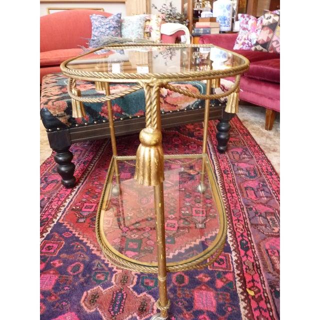 Mid Century Regency Italian Tassel Gilt Bar Cart - Image 8 of 10