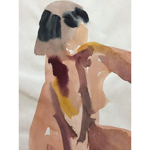 Vintage 1970s Seated Nude Watercolor Painting - Image 3 of 4