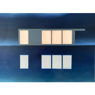 """""""Abstract Landscape Lakeside"""" Contemporary Minimalist Lake House Portrait Painting For Sale"""