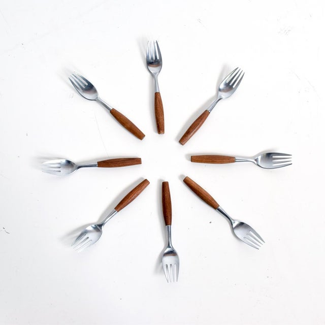 Mid Century Danish Modern Dansk Flatware Set 53 Pieces Teak Stainless Fjord Jens H Quistgaard For Sale In San Diego - Image 6 of 11