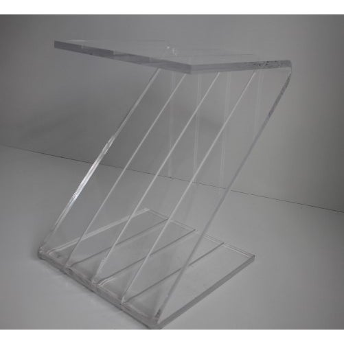 "Vintage Z-shaped side table with cut details. Lucite: 3/4"" thick"