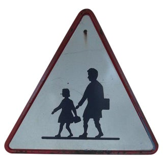 Belgian School Crossing Road Sign For Sale