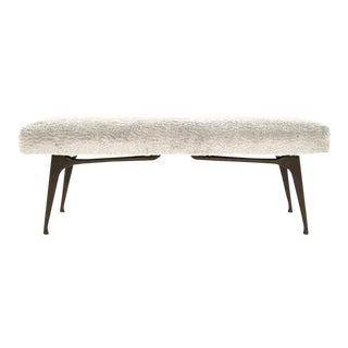 1950s Sculptural Walnut Bench in Mohair, Italy For Sale