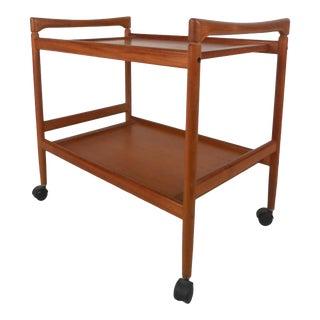 Scandinavian Modern Teak Serving Cart For Sale
