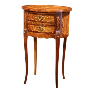 20th Century French Louis XV Walnut Chest of Drawers With Inlaid Floral Decor For Sale