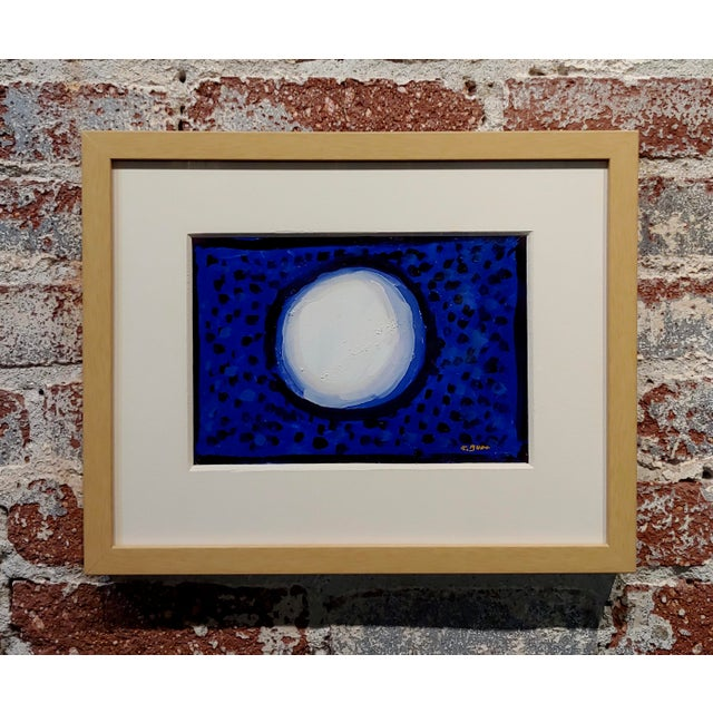 "White Conrad Buff ""Snowball Over a Deep Blue"" Modernist Oil Painting For Sale - Image 8 of 8"