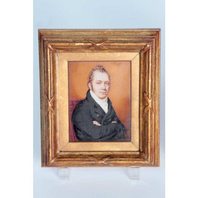 pair of period portraits in miniature, framed, English Regency gentlemen, well-executed by a skilled artist, brothers???...