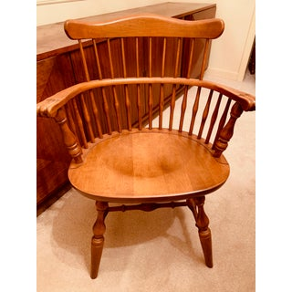 Ethan Allen 20th Century Nutmeg Maple Heirloom Colonial Style Comb-Back Accent Chair Preview