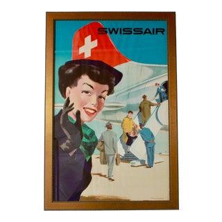 1950s Vintage Swiss Air Framed Travel Poster For Sale