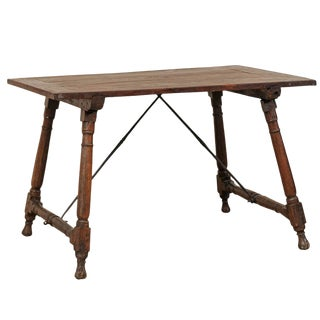 Antique Italian Wood and Iron Stretchered Writing Desk For Sale