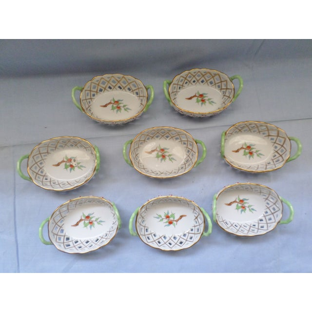 Vintage Herend Hungary Porcelain Lattice & Cherry Design Individual Nut or Sweetmeat Baskets - Set of 8 For Sale - Image 12 of 12