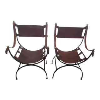 Italian Savonarola Leather and Iron Chairs, Sold as a Pair For Sale