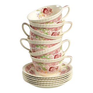 Johnson Brothers Winchester Pink Cup & Saucer - Set of 6 For Sale