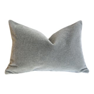 Storm Grey Angora Mohair Pillow Cover 12x18 For Sale