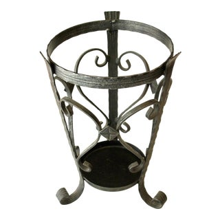 Vintage Handmade Heavy Wrought Iron Umbrella Stand For Sale