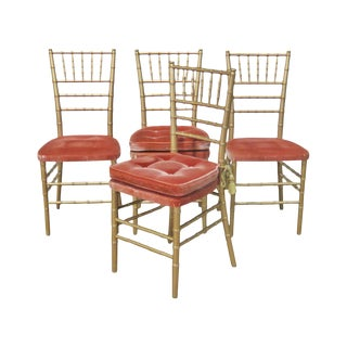 Vintage Mid Century Faux Bamboo Dining Side Chairs- Set of 4 For Sale