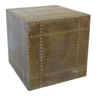 Vintage Gray-Green Brass Cube Side Table For Sale