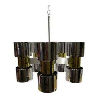 Vintage Gaetano Sciolari Chrome and Brass MCM Chandelier Circa 1950s For Sale