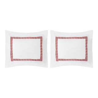 Greek Key Standard Pillow Shams in Red - a Pair For Sale