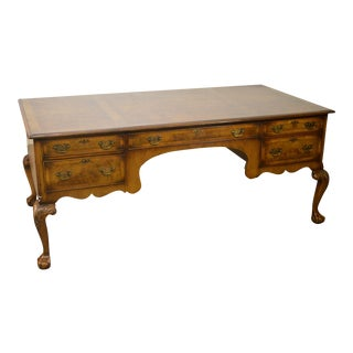Chippendale Style Custom Quality English Burl Wood Executive Desk by Tibbenham For Sale