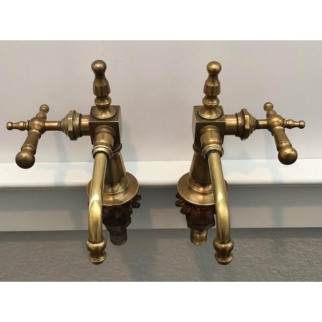 Antique French Brass Faucet Fixtures, Pair - Image 11 of 11