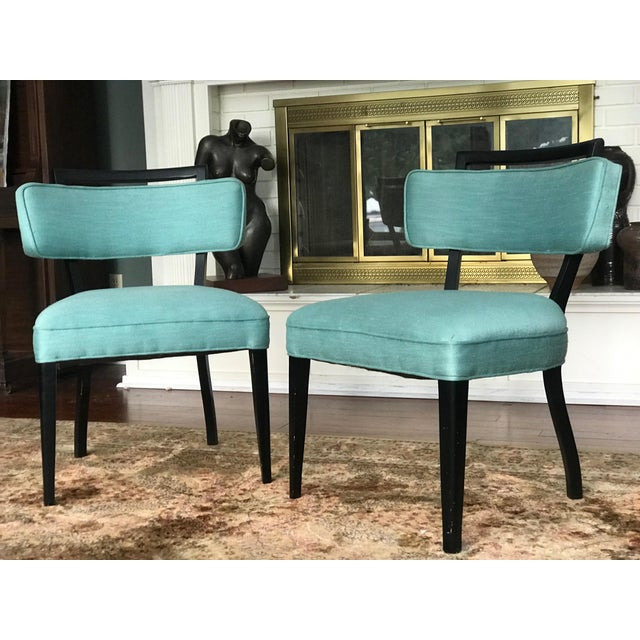 Offering this lovely pair of black lacquer and teal nubby silk like fabric accent chairs. They have a light Asian inspired...