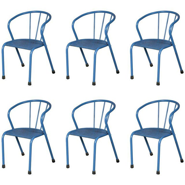 French Blue Metal Side Chairs - Set of 6 - Image 6 of 6