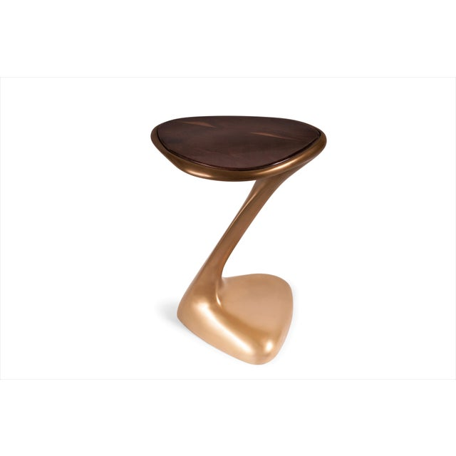 Palm Side Table Gold Finish With Walnut Top For Sale - Image 9 of 9