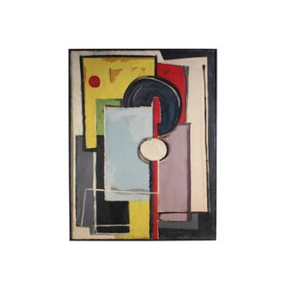 Oil on Canvas Mid-Century Abstract Geometric Painting For Sale