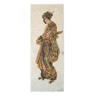 Mid Century J Danjell Japanese Geisha Wall Hanging For Sale