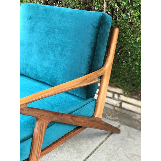 Mid Century Z Chair in Peacock Jade For Sale - Image 10 of 13