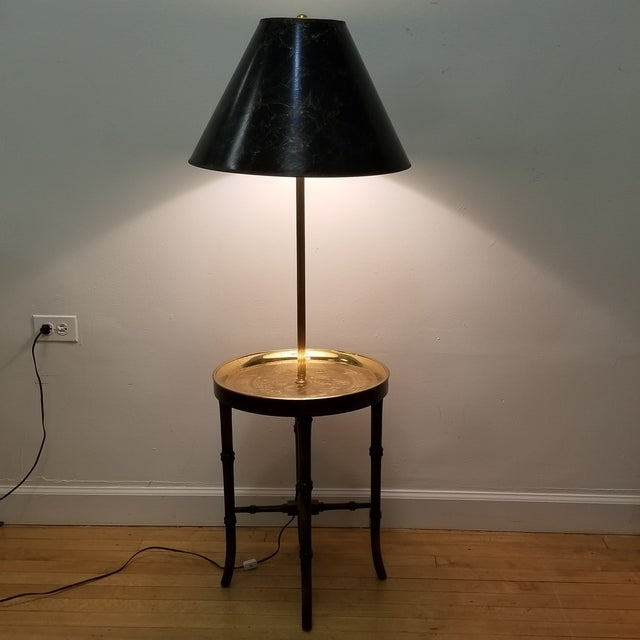 Asian Faux Bamboo Wood & Etched Brass Table Floor Lamp For Sale - Image 3 of 8