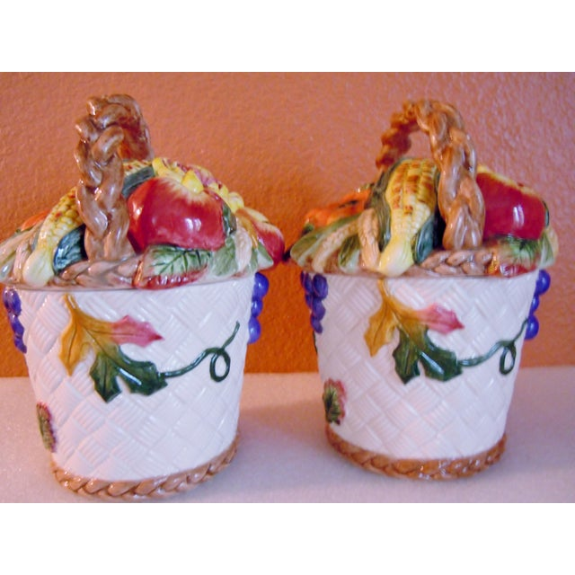 Fitz and& Floyd vegetable fruit basket canisters Condition is excellent, no cracks or crazing, a very small chip inside of...
