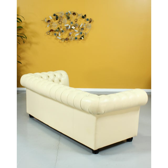 Mid-Century Modern Vintage Beige Leather Chesterfield Sofa For Sale - Image 3 of 8