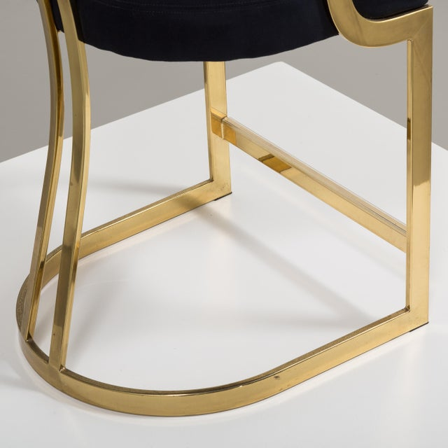 Brass A Counter Height Brass Framed Upholstered Chair 1980s For Sale - Image 7 of 8