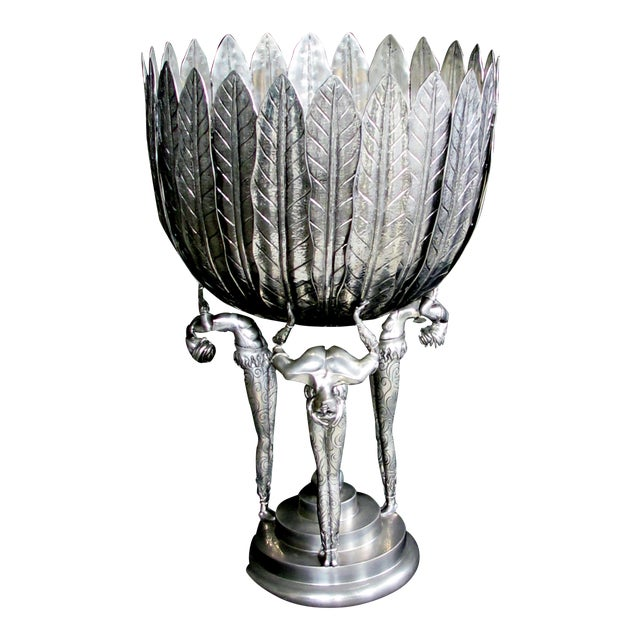 A Stunningly Large Italian Art Deco Style Piero Figura Pewter Centerpiece Stamped 'Figura Piero Per Atena, Etain 95% For Sale