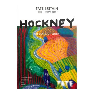 "David Hockney Rare Lithograph Print Tate Britain Exhibition Poster "" Going Up Garrowby Hill "" 2000 For Sale"