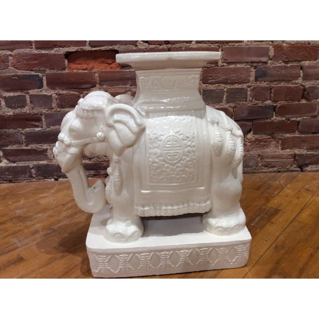 Pair Vintage white glazed pottery elephant stands/tables.