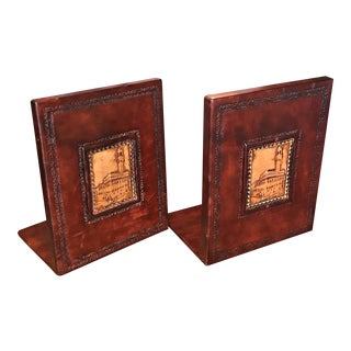 1970s Italian Brown Leather Bookends - a Pair