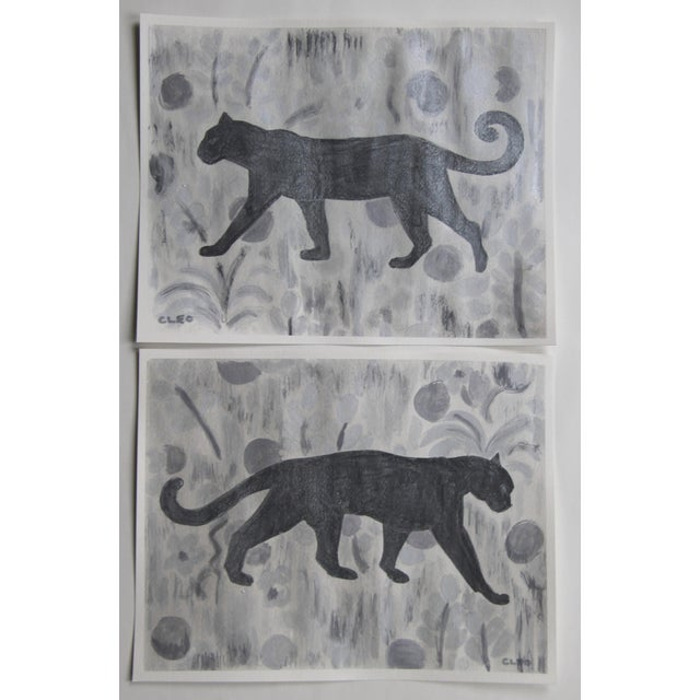Art Deco Chinoiserie Panther Leopard Gray Painting by Cleo PLowden For Sale - Image 3 of 5