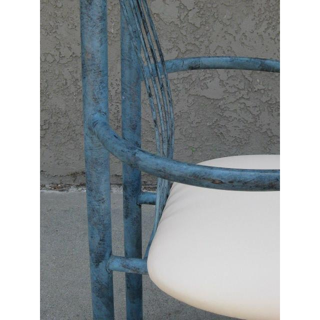 Blue Patinated Metal Chairs - Set Of 4 - Image 4 of 6