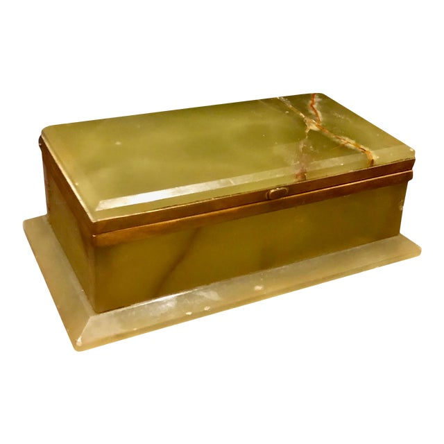 1940s Large Onyx and Bronze Table Box For Sale