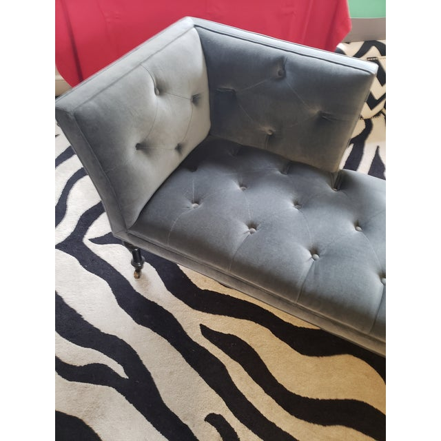 French Gray Tufted Love Seat Settee by Cisco Home For Sale - Image 3 of 13