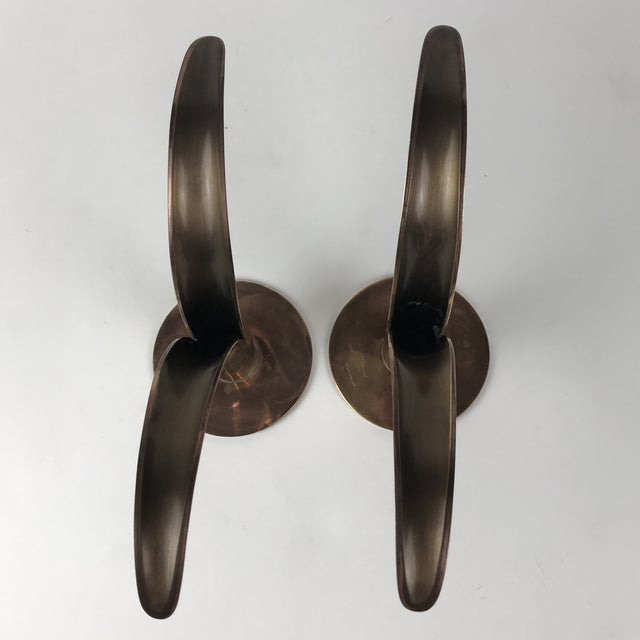 """Mid-Century Swedish Brass """"Lily"""" Candlesticks - A Pair For Sale In Los Angeles - Image 6 of 9"""